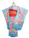 七五三 着物 レンタル 7歳 女の子 フルセット ブルー花束fy16REN07【10P28Sep16】