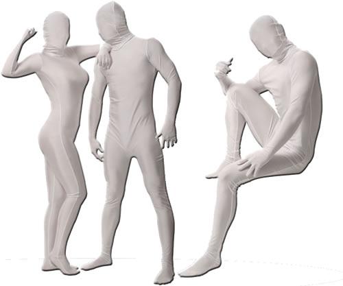 【全身タイツ 白】透明人間 パンテックス 白(L)[完全全身タイツ コスプレ 衣装 仮装 ジョーク衣装]【A-0124_460275】:はぴキャラ
