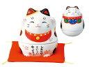 彩絵招き猫小物入れ(みけ)(おきあがり白招き猫入)