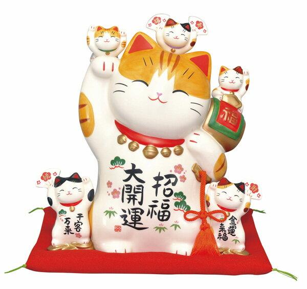 彩絵招福大開運招き猫(特大)(貯金箱)