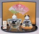 ひな人形 彩絵玻瑠立雛(花飾り)