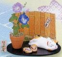 夏のインテリア陶器の小さな置物なつかし屋朝顔とぶち猫