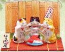 なつかし屋金魚鉢と招き猫トリオ