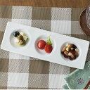 三つ仕切りプレート 26.7cm 中皿 日本製 美濃焼 陶器 陶磁器 食器 洋食器 白い食器 カネスズ kanesuzu 小分け 四角 角皿 仕切り皿 仕切り 3つ 前菜皿 薬味皿 おつまみ皿 カフェ おしゃれ