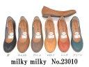 (ミルキーミルキー) milky milky ラウンドトゥ プレーンパンプス/スムース/エナメル/日本製/ローヒール/ぺたんこ 23010