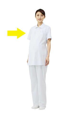 マタニティ/妊婦用 ナースジャケット(半袖)白衣 医療白