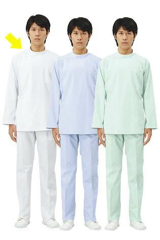 ケーシー(長袖) 男性白衣 医療 白衣ドクター診察衣 メンズ白/サックス/ミント
