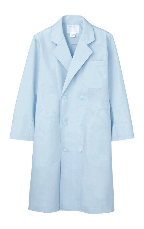 メンズ ダブル コート 長袖エコ 白衣 医療 男性白衣ドクター 診察衣サックス