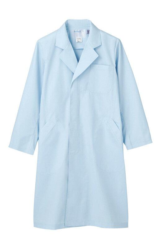 メンズ シングル コート 長袖エコ 白衣 医療 男性白衣ドクター 診察衣サックス