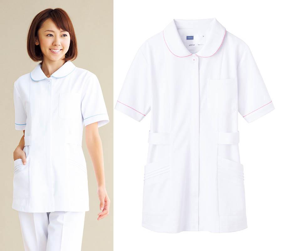 チュニック白衣 医療ナースウェア 女性ホワイトブルー/ホワイトピンク
