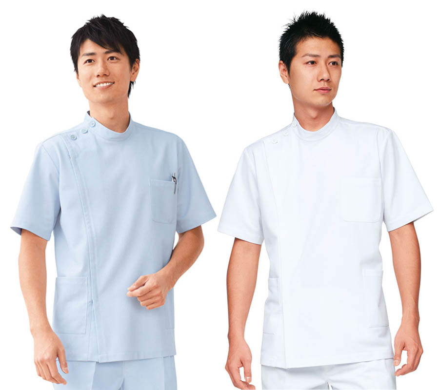 ケーシー 男性横掛白衣 医療 白衣ドクター診察衣 メンズホワイト/ブルーグレー