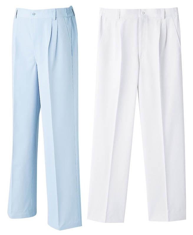 メンズツータック パンツ白衣 医療 白衣ドクター男性 ズボン 診察衣ホワイト/ブルーグレー