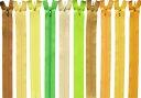 【50cm】YKKフラットニットファスナー グリーン・黄色系 全92色 【1注文につき5本まで寸法加工無料】 ≪30本までメール便OK≫