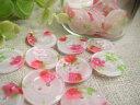 お花と苺の生地入りプラスティックボタン、ポリボタン10個セット