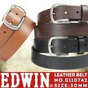 メンズベルト メンズ EDWIN エドウィン ベルトシリーズ 紳士ベルト 本革 小物 ベルト ブラ