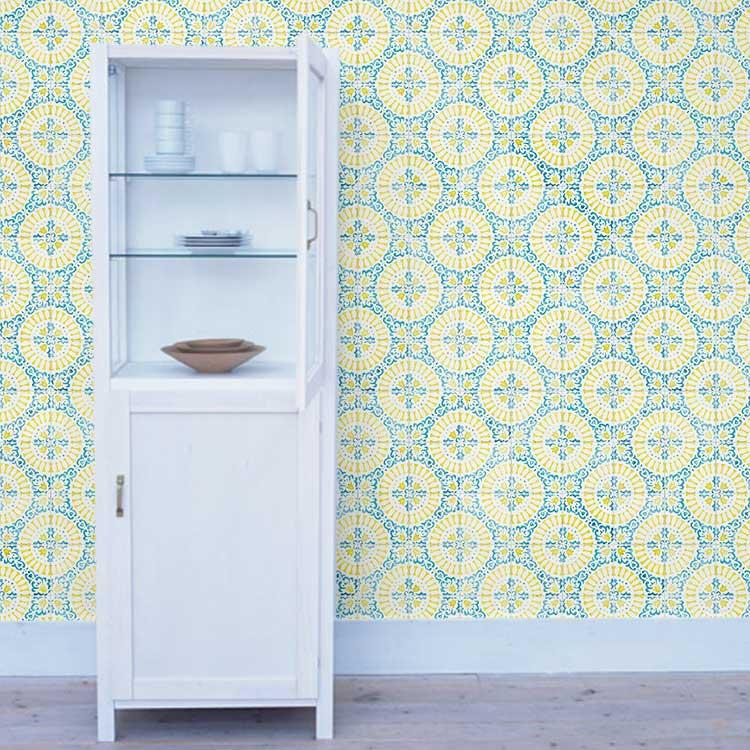 RoomClip商品情報 - 貼ってはがせる 壁紙 シール リメイクシート「Hatte me(ハッテミー)」アンティークタイル柄 レモンxブルー ATKK-01(65cm×1m)