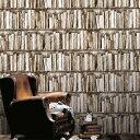 【ポイント20倍!】輸入壁紙 フランス製 本棚 ビブリヨ / コジエル (1ロール(53cm×7.7m)単位で販売)フリース壁紙(不織布)