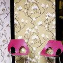 【今なら道具セットプレゼント 8/31まで】【送料無料】輸入壁紙イギリス製・マナーハウス不織布壁紙 全2色(1巻・横幅 52cm、巻き 10m単位で発売)木蓮のような花がデザイン【国内在庫商品】