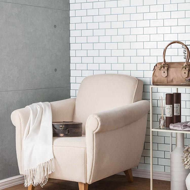 RoomClip商品情報 - 壁紙 のり付き メトロタイル 白 クロス おしゃれ 壁紙 1m単位 モノトーン サブウェイタイル 壁紙張り替え diy リフォーム 国産壁紙 生のり付き SBB-8432