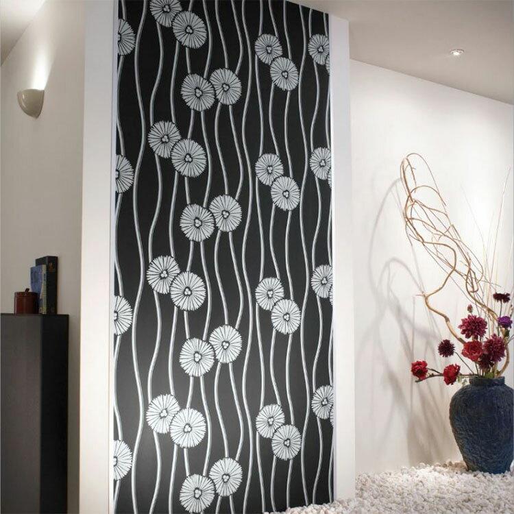 RoomClip商品情報 - 壁紙 のり付き 和モダン 黒 クロス おしゃれ 壁紙 1m単位 和柄 菊 壁紙張り替え diy リフォーム 国産壁紙 生のり付き SLW-2500