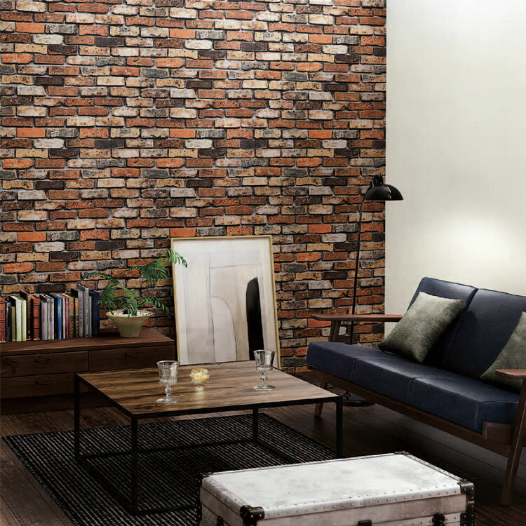 RoomClip商品情報 - 壁紙 のり付き レンガ ブラウン クロス 壁紙 1m単位 ブルックリン 茶色 壁紙張り替え diy おしゃれ リフォーム 国産壁紙 生のり付き SRF-6450