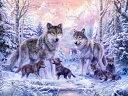 動物 アニマル キッズ こども部屋の壁紙 輸入 カスタム壁紙 photowall / Winter Wolf Family (e21741) 貼ってはがせるフリース壁紙(不織布) 【海外取り寄せのため1カ月程度でお届け】 【代引き不可】