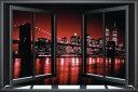 都市 都会 摩天楼 子ども向けの壁紙 輸入 カスタム壁紙 PHOTOWALL / Brooklyn Bridge Through Window - Red (e22384) 貼ってはがせるフリース壁紙(不織布) 【海外取り寄せのため1カ月程度でお届け】 【代引き不可】 壁紙屋本舗