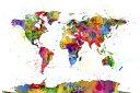 地図 水彩画の壁紙カスタム壁紙 輸入壁紙PHOTOWALL / Paint Splashes Map 2 (e24211)貼ってはがせるフリース壁紙(不織布)【海外取り寄せのため1カ月程度でお届け】【今だけ送料無料】【代引き不可】