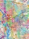 ポートランド 地図 水彩 カラフル マルチカラーの壁紙 輸入 カスタム壁紙 PHOTOWALL / Portland Oregon City Map (e311444) 貼ってはがせるフリース壁紙(不織布) 【海外取り寄せのため1カ月程度でお届け】 【代引き不可】