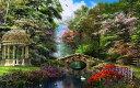 パーゴラ 庭 ガーデン 橋 花の壁紙 輸入 カスタム壁紙 PHOTOWALL / The Garden of Peace (e312482) 貼ってはがせるフリース壁紙(不織布) 【海外取り寄せのため1カ月程度でお届け】 【代引き・後払い不可】