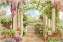 ガーデン 庭 アーチ 花の壁紙 輸入 カスタム壁紙 PHOTOWALL / Renaissance Path (e317752) 貼ってはがせるフリース壁紙(不織布) 【海外取り寄せのため1カ月程度でお届け】 【代引き不可】