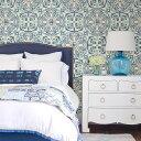 RoomClip商品情報 - はがせる 壁紙 シール NuWallpaper貼ってはがせる シール 壁紙 リメイクシート壁・家具・お風呂などにも貼れる!NU2235絵付けタイル アンティークタイル柄