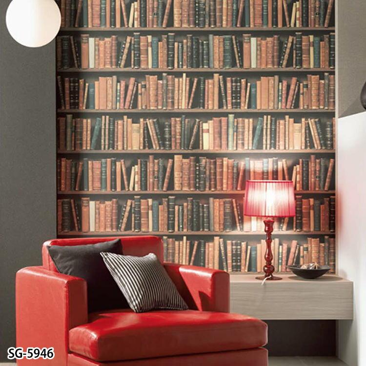 RoomClip商品情報 - 壁紙 のりなし クロス フェイク本棚柄 [国産壁紙(のりなしタイプ)/サンゲツSG-5946(販売単位1m)]※法人名義の領収書も発行