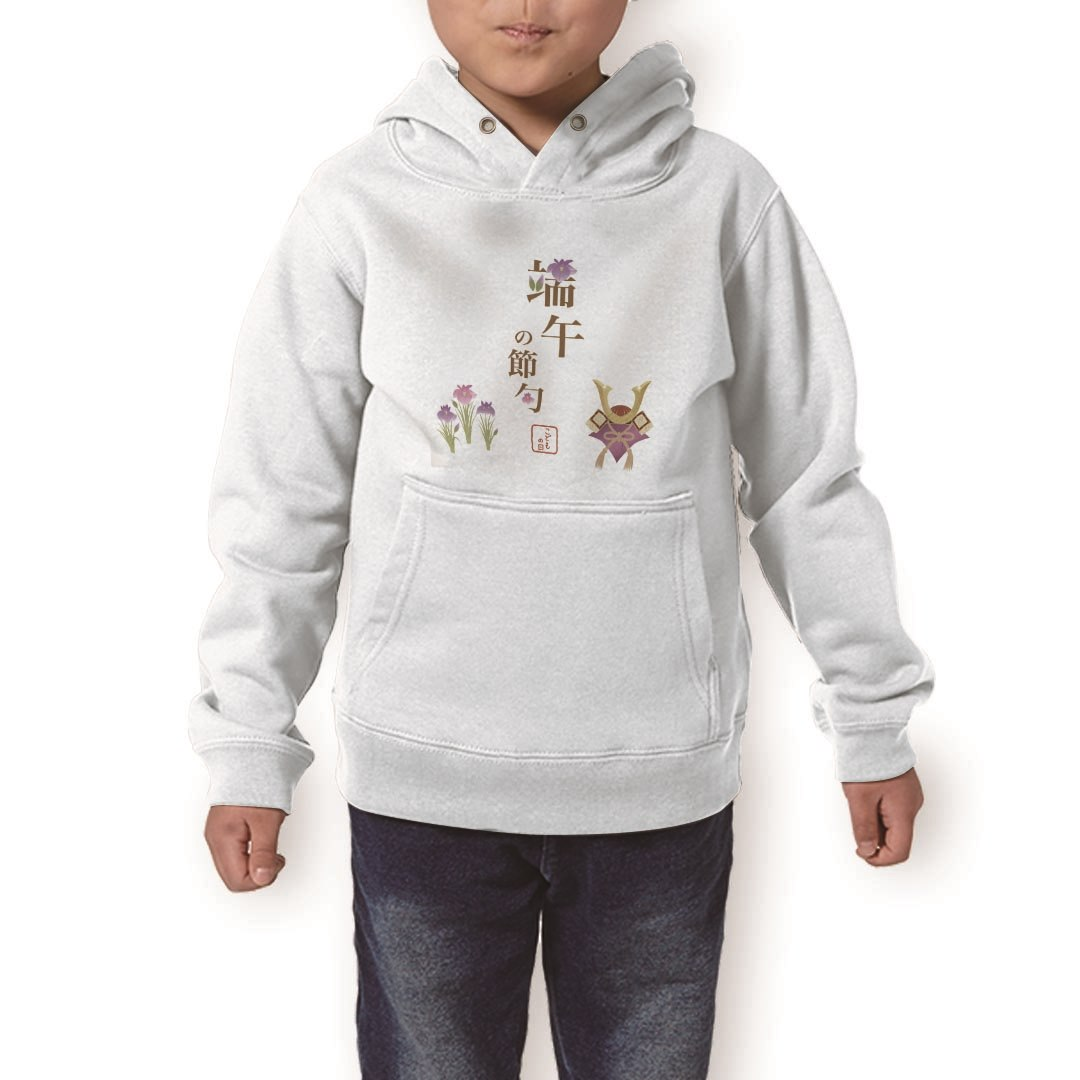 パーカー キッズ ホワイト グレー ブラック デザイン 110 130 150 parker hooded sweatshirt フーディ 白 黒 灰色 子供 男の子 女の子 015310 こどもの日 鯉のぼり 兜 熊
