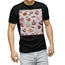 ショッピングスイーツ tシャツ メンズ 半袖 ブラック デザイン XS S M L XL 2XL Tシャツ ティーシャツ T shirt 黒 000833 スイーツ ケーキ
