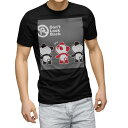 ショッピングイラスト tシャツ メンズ 半袖 ブラック デザイン XS S M L XL 2XL Tシャツ ティーシャツ T shirt 黒 000955 パンダ イラスト