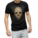 ショッピングマスク tシャツ メンズ 半袖 ブラック デザイン XS S M L XL 2XL Tシャツ ティーシャツ T shirt 黒 001054 ジェイソン マスク