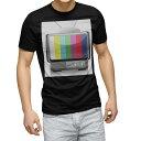 ショッピングテレビ tシャツ メンズ 半袖 ブラック デザイン XS S M L XL 2XL Tシャツ ティーシャツ T shirt 黒 002402 テレビ カラフル
