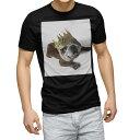 ショッピング犬 tシャツ メンズ 半袖 ブラック デザイン XS S M L XL 2XL Tシャツ ティーシャツ T shirt 黒 002573 犬 動物 写真
