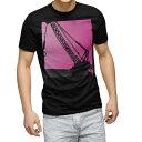 ショッピングイラスト tシャツ メンズ 半袖 ブラック デザイン XS S M L XL 2XL Tシャツ ティーシャツ T shirt 黒 002930 乗り物 イラスト ピンク