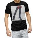 ショッピング写真 tシャツ メンズ 半袖 ブラック デザイン XS S M L XL 2XL Tシャツ ティーシャツ T shirt 黒 003378 人物 リボン 写真