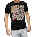 ショッピングTシャツ tシャツ メンズ 半袖 ブラック デザイン XS S M L XL 2XL Tシャツ ティーシャツ T shirt 黒 004852 写真 外国人