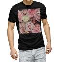 tシャツ メンズ 半袖 ブラック デザイン XS S M L XL 2XL Tシャツ ティーシャツ T shirt 黒 005356 花 フラワー 写真 ピンク