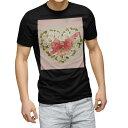 ショッピングハート tシャツ メンズ 半袖 ブラック デザイン XS S M L XL 2XL Tシャツ ティーシャツ T shirt 黒 005648 花 フラワー ハート