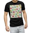 ショッピング水玉 tシャツ メンズ 半袖 ブラック デザイン XS S M L XL 2XL Tシャツ ティーシャツ T shirt 黒 005786 カラフル 水玉 模様