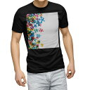 ショッピングパズル tシャツ メンズ 半袖 ブラック デザイン XS S M L XL 2XL Tシャツ ティーシャツ T shirt 黒 006008 カラフル パズル