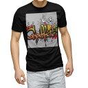 tシャツ メンズ 半袖 ブラック デザイン XS S M L XL 2XL Tシャツ ティーシャツ T shirt 黒 006934 カラフル インク スプレー