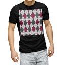 ショッピングアーガイル tシャツ メンズ 半袖 ブラック デザイン XS S M L XL 2XL Tシャツ ティーシャツ T shirt 黒 007100 アーガイル 模様