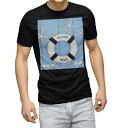 ショッピング浮き輪 tシャツ メンズ 半袖 ブラック デザイン XS S M L XL 2XL Tシャツ ティーシャツ T shirt 黒 007502 水色 ヒトデ 浮き輪