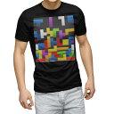 ショッピングゲーム tシャツ メンズ 半袖 ブラック デザイン XS S M L XL 2XL Tシャツ ティーシャツ T shirt 黒 007961 カラフル パズル 模様 ゲーム